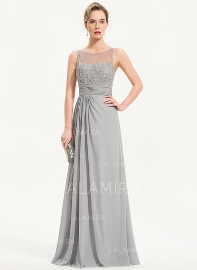 A-Line Scoop Neck Floor-Length Chiffon Evening Dress With Beading Sequins (017186132)