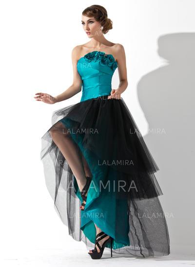 A-Line/Princess Taffeta Tulle Prom Dresses Ruffle Flower(s) Strapless Sleeveless Asymmetrical (018020955)