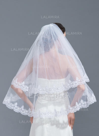 Elbow Bridal Veils Tulle Two-tier Classic With Lace Applique Edge Wedding Veils (006152237)