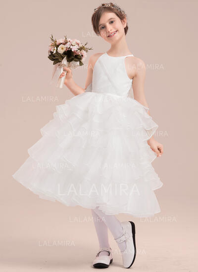 A-Line/Princess Tea-length Flower Girl Dress - Organza/Satin/Tulle Sleeveless Scoop Neck With Beading/Flower(s) (010143252)