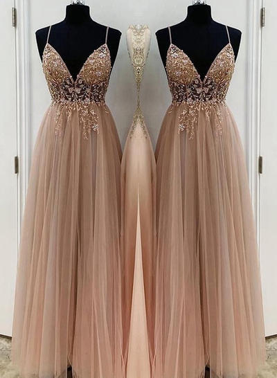 Floor-Length Spaghetti Straps Tulle A-Line/Princess Prom Dresses (018219379)