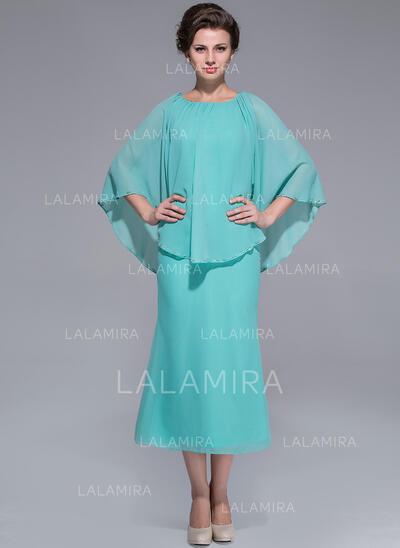 Forme Princesse Col rond Longueur mollet Mousseline Robe de mère de la mariée (008025759)