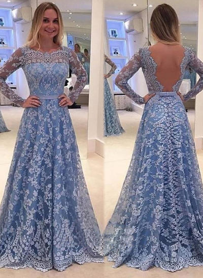 A-Line/Princess Sweep Train Prom Dresses Scoop Neck Lace Long Sleeves (018146196)