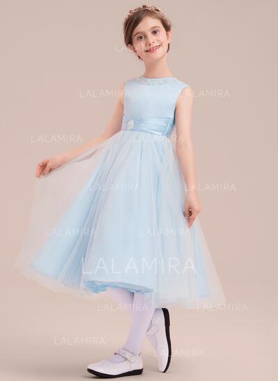 A-Line/Princess Tea-length Flower Girl Dress - Satin/Tulle Sleeveless Scoop Neck With Beading (010143261)