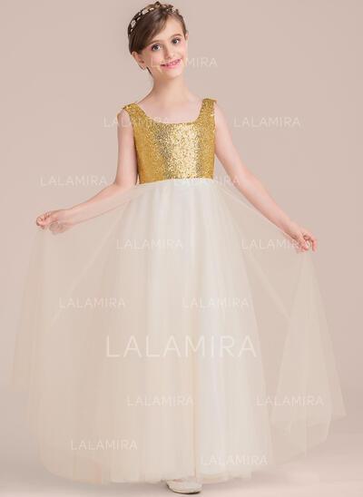 Vestidos princesa/ Formato A Longos Vestidos de Menina das Flores - Tule/Lantejoulas Sem magas Decote quadrado com Beading/fecho de correr (010136603)