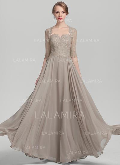 Forme Princesse Amoureux Longueur ras du sol Mousseline Dentelle Robe de mère de la mariée (008114247)