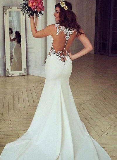 Newest Appliques Trumpet/Mermaid With Satin Wedding Dresses (002144927)