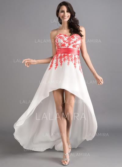 Elegante Corte A/Princesa Gasa Asimétrico Sin mangas Vestidos de baile de promoción (018046257)