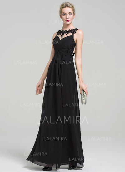 A-Line/Princess Scoop Neck Floor-Length Chiffon Evening Dress With Lace Beading Sequins (017093493)