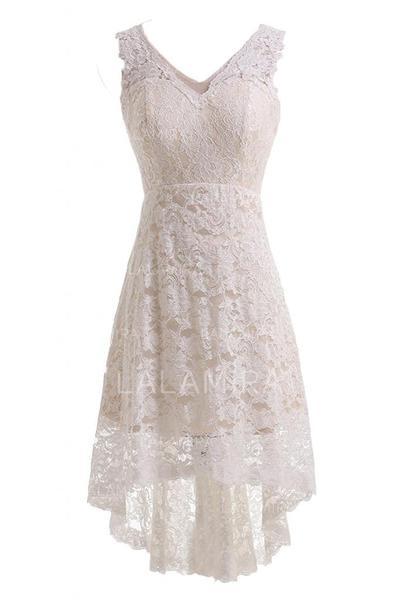 A-Line/Princess Lace Sleeveless V-neck Knee-Length Asymmetrical Wedding Dresses (002147845)