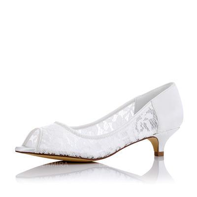 Women's Peep Toe Low Heel Cloth Mesh Wedding Shoes (047208668)