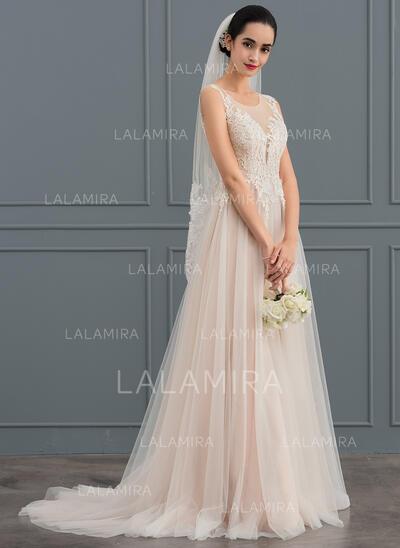 Coupe Évasée Illusion Balayage/Pinceau train Tulle Robe de mariée (002127252)