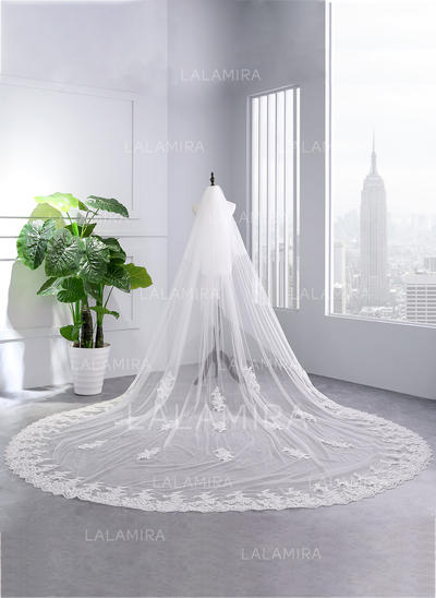 Cathedral Bridal Veils Tulle One-tier With Lace Applique Edge With Lace Wedding Veils (006152508)