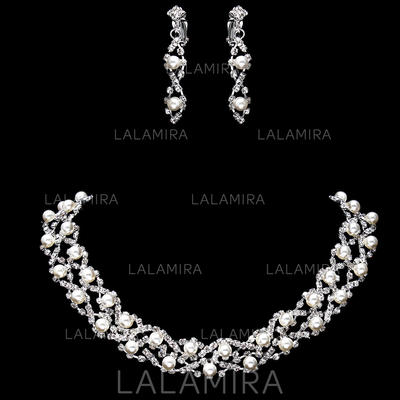 Jewelry Sets Alloy/Rhinestones Pearl Lobster Clasp Earclip Wedding & Party Jewelry (011160164)