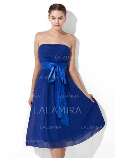 Empire Knee-Length Chiffon General Plus Bridesmaid Dresses (007000839)