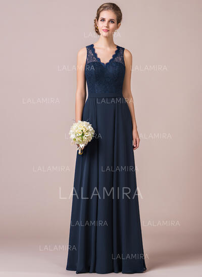 A-Line/Princess V-neck Floor-Length Chiffon Lace Bridesmaid Dress (007056568)