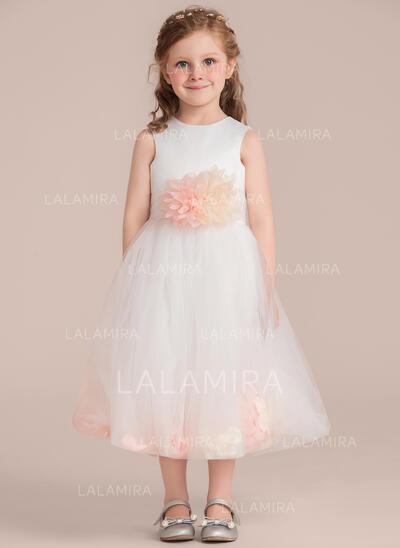 Forme Princesse Longueur mollet Robes à Fleurs pour Filles - Satiné/Tulle Sans manches Col rond avec Fleur(s) (Bande détachable) (010132394)
