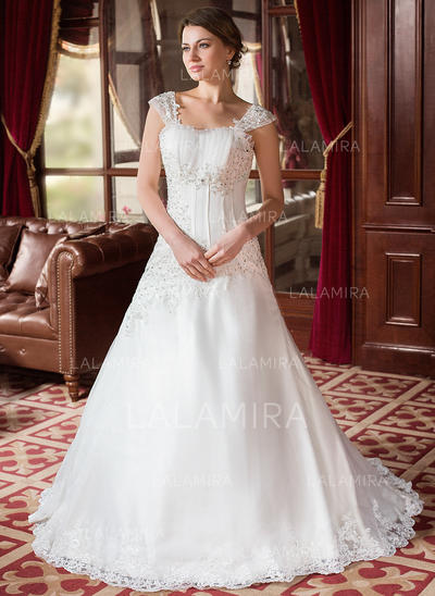 A-Line/Princess Ruffle Beading Appliques Satin Organza Court Train Three-dimensional Wedding Dresses (002000152)