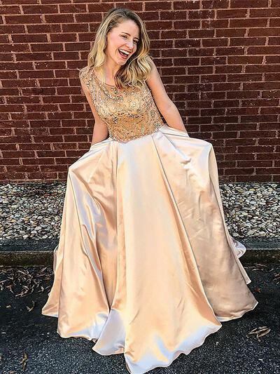 A-Line/Princess Scoop Neck Floor-Length Satin Prom Dresses With Beading (018217346)