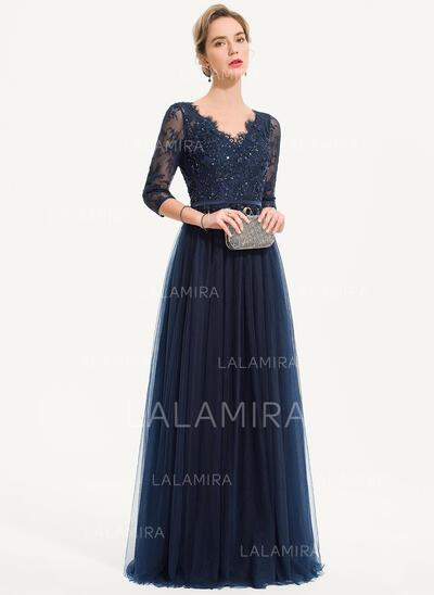 Corte A Decote V Longos Tule Vestido de festa com Beading lantejoulas (017186126)