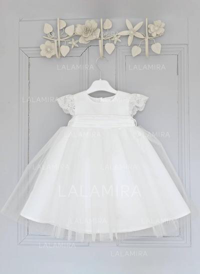 Tulle Col rond Dentelle Robes de baptême bébé fille avec Manches courtes (2001216803)