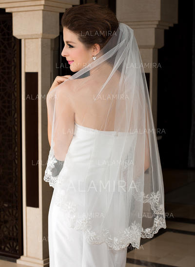 Waltz Bridal Veils Tulle One-tier Oval/Mantilla With Lace Applique Edge Wedding Veils (006151485)