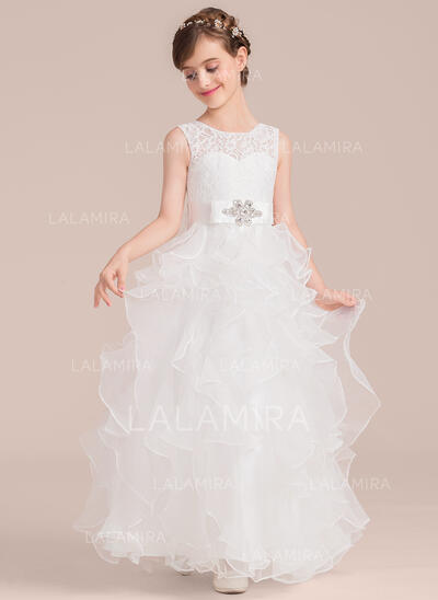 A-Line/Princess Floor-length Flower Girl Dress - Organza/Lace Sleeveless Scoop Neck With Sash/Beading (010136602)