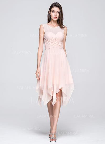 56f962c4a8aa A-Line/Princess Chiffon Bridesmaid Dresses Ruffle Scoop Neck Sleeveless  Asymmetrical (007199090)