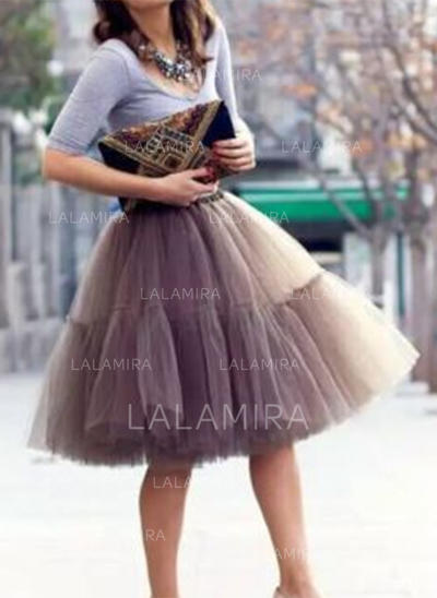 Bustle Knee-length Tulle Netting/Satin Half Slip 6 Tiers Petticoats (037190854)
