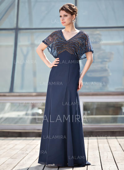 A-Line/Princess Chiffon 1/2 Sleeves V-neck Floor-Length Zipper Up Mother of the Bride Dresses (008213156)
