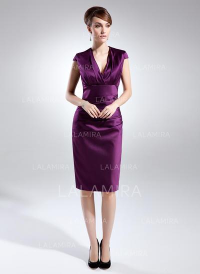 Superbe Longueur genou Forme Fourreau Satiné Robes mère de la mariée (008211070)