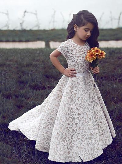 Princess Scoop Neck A-Line/Princess Flower Girl Dresses Sweep Train Lace Short Sleeves (010146744)