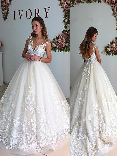 Sleeveless Tulle Appliques With Simple Wedding Dresses 002147997