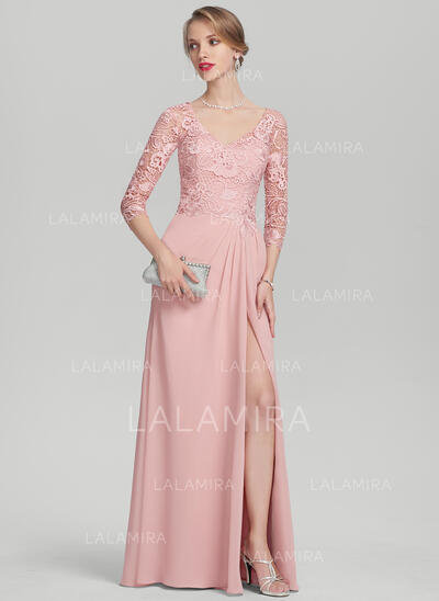 A-Line/Princess V-neck Floor-Length Chiffon Lace Mother of the Bride Dress With Ruffle Split Front (008131966)