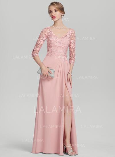 Vestidos princesa/ Formato A Decote V Longos Tecido de seda Renda Vestido para a mãe da noiva com Pregueado Frente aberta (008131966)