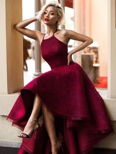 Asimétrico Encaje con Corte A/Princesa Vestidos de baile de promoción (018217937)