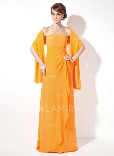 Sheath/Column Floor-Length Chiffon Floor-Length Bridesmaid Dresses (007001016)