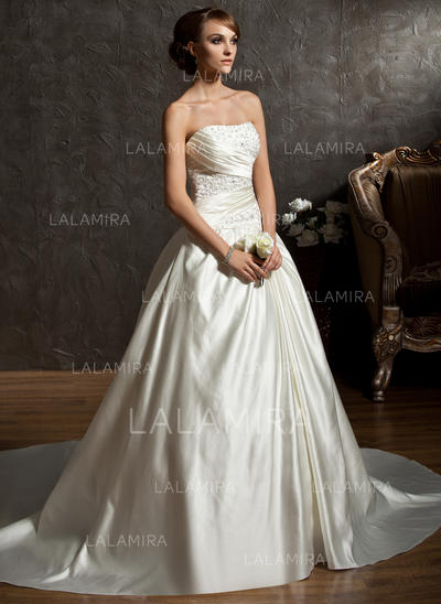 Modern Chapel Train Sweetheart Ball-Gown Satin Wedding Dresses (002196846)