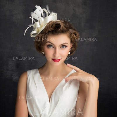 Feather/Tulle/Linen With Feather Fascinators Classic Ladies' Hats (196194266)