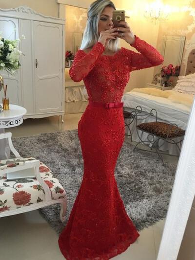 Trumpet/Mermaid Sweep Train Prom Dresses Scoop Neck Lace Long Sleeves (018144679)