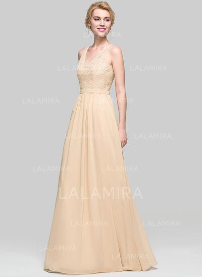 A-Line/Princess V-neck Floor-Length Chiffon Bridesmaid Dress (007094025)