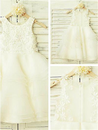 Scoop Neck A-Line/Princess Flower Girl Dresses Organza/Tulle Appliques Sleeveless Tea-length (010211883)