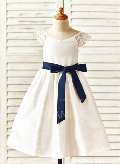 Vestidos princesa/ Formato A Comprimento médio Vestidos de Menina das Flores - Tafetá Sem magas Decote redondo com Cintos (010105782)