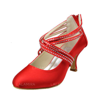 Women's Closed Toe Pumps Low Heel Satin With Rhinestone Wedding Shoes (047205539)