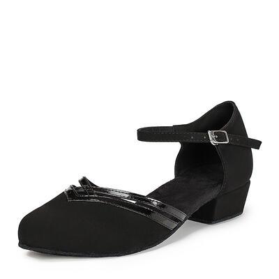 De mujer Sala de Baile Planos Piel brillante Nubuck con Tira de tobillo Zapatos de danza (053021442)