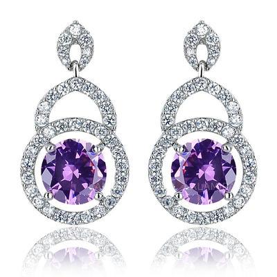 Earrings Zircon/Platinum Plated Pierced Ladies' Elegant Wedding & Party Jewelry (011166736)