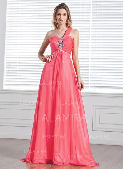 A-Line/Princess Sweep Train Prom Dresses One-Shoulder Chiffon Sleeveless (018004848)