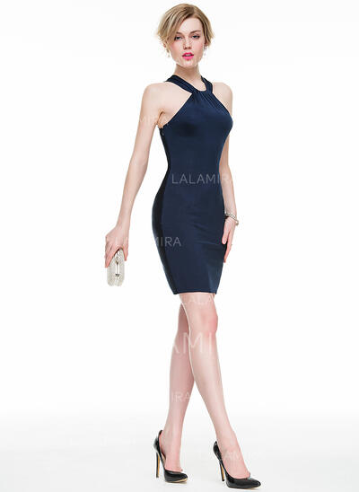 Sheath/Column Scoop Neck Short/Mini Jersey Cocktail Dress With Ruffle (016077861)
