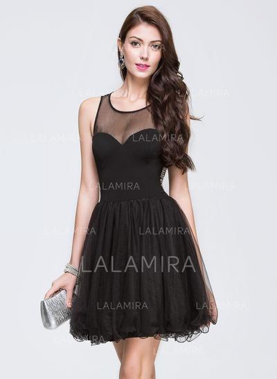 Tulle Regular Straps A-Line/Princess Scoop Neck Homecoming Dresses (022214107)