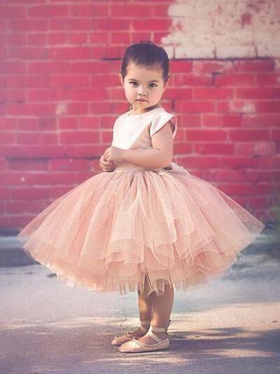 Tea-length Short Sleeves Tulle Flower Girl Dresses